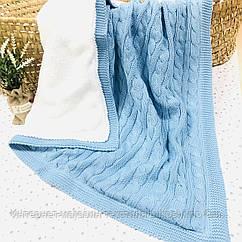 Плед вязанный утепленный голубого цвета с помпончиками 95*75 см (90% хлопок, 10% акрил)