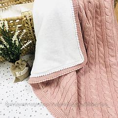 Плед вязанный утепленный пудрового цвета с помпончиками 95*75 см (90% хлопок, 10% акрил)