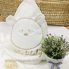 Полотенце-уголок махровое Мишка молочный из 100% хлопка, 80*80 см