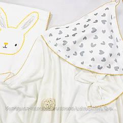 Комплект для новорожденного полотенце-уголок, муслиновый плед, мочалка