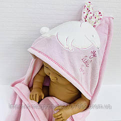 Полотенце-уголок махровое Зайка розовый из 100% хлопка, 80*80 см
