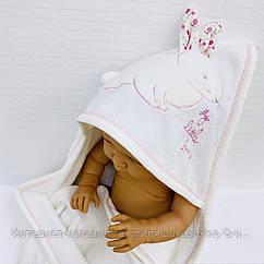 Полотенце-уголок махровое Зайка белый из 100% хлопка, 85*90 см