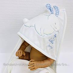 Полотенце-уголок махровое Зайка белый из 100% хлопка, 80*80 см
