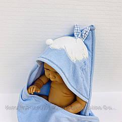 Полотенце-уголок махровое Зайка голубой из 100% хлопка, 80*80 см