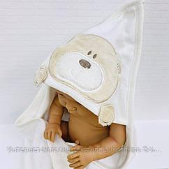 Полотенце-уголок махровое Медвежонок белый из 100% хлопка, 80*80 см