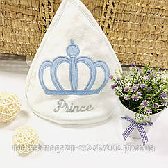 Полотенце-уголок белое махровое Корона голубая из 100% хлопка, 80*80 см