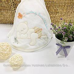 Полотенце-уголок белое махровое Мишка из 100% хлопка, 80*80 см