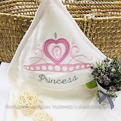 Полотенце-уголок махровое белое розовый Кулон из 100% хлопка, 80*80 см