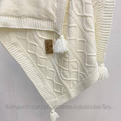 Плед вязанный утепленный с кисточками молочного цвета 95*85 см