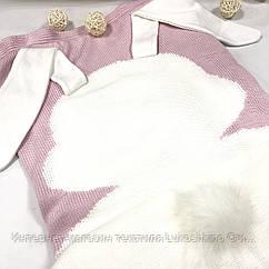 Плед вязанный двусторонний утепленный (90% хлопок, 10% акрил) зайчик белый на розовом 95*75 см