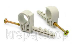 Обойма 15-16 мм (50 шт/упак.) Для труб і кабелю, з шурупом