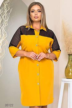 Платье-рубашка со вставкой из гипюра с 50 по 60 размер