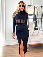 Костюм Анет женский стильный в рубчик топ с сеткой и юбка миди с разрезом Kdv1369