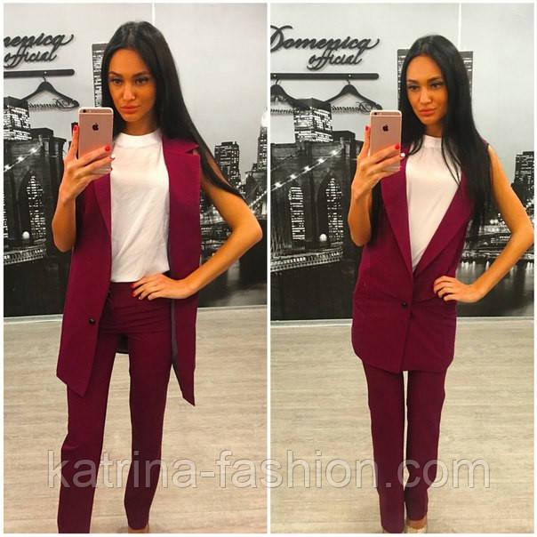 Женский стильный комплект: жилет и брюки в расцветках (+ большие размеры)