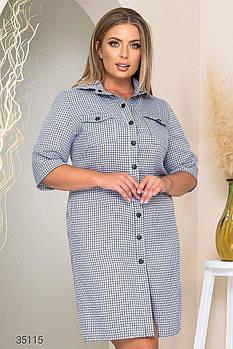 Сукня-сорочка з принтом в клітку з 50 по 60 розмір