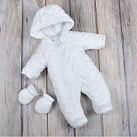 """Комбинезон """"Зигзаг"""" Mag Baby плащевка для новорожденных зимний стеганый синтепоновый белый Мэг Бейби"""
