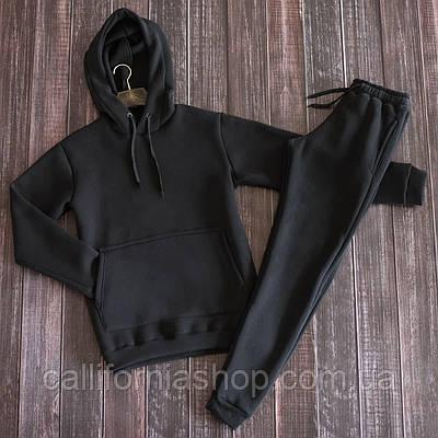 Спортивный костюм мужской на флисе черный худи штаны теплый