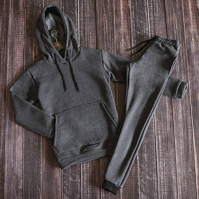 Спортивный костюм мужской на флисе худи штаны темно-серого цвета