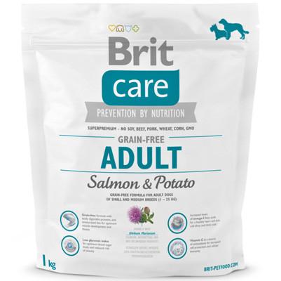 Корм для собак до 25кг с чувствительным пищеварением Brit Care Adult Breed Salmon 1кг, лосось