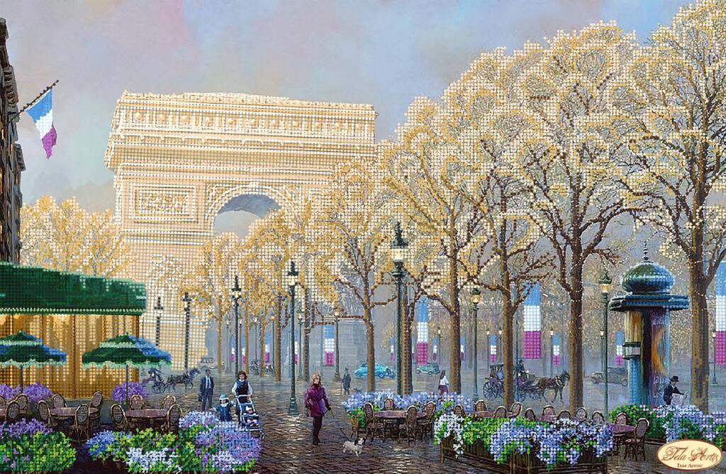 """Рисунок на ткани для вышивания бисером """"Осенний Париж"""""""