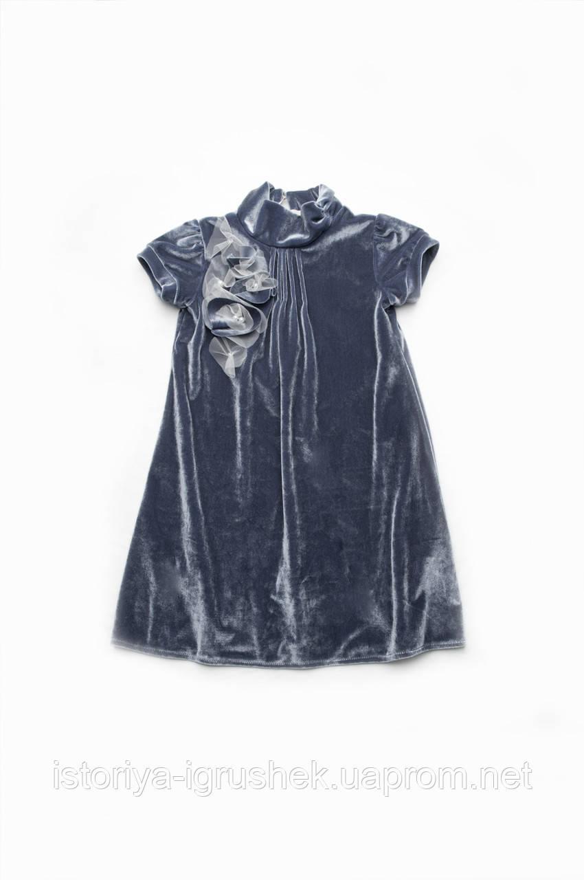 Платье нарядное бархат темно-серое