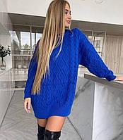 Плаття-туніка жіноча в'язана тепле ідеальне вільного крою в візерунки Smdv6547