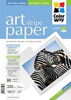 Фотобумага ColorWay ART матовая/фактура полоски 220г/м, 10л, A4