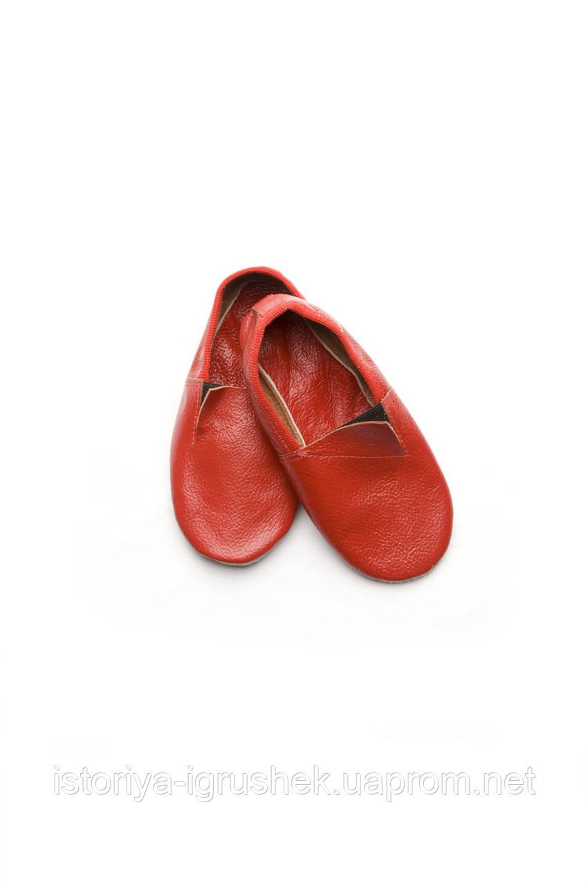 Чешки кожаные детские красные