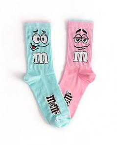 """Шкарпетки з високоякісної бавовни з оригінальним принтом """"M&M's"""" Рожевий / Бірюзовий"""