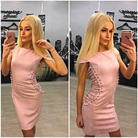 Женское роскошное платье из замши в двух цветах (+ большие размеры)