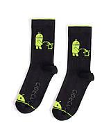 """Носки из высококачественного хлопка с оригинальным принтом """"Android"""" Чёрные"""