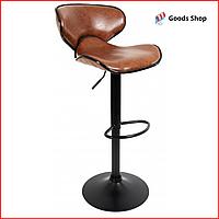 Барный стул высокий для барной стойки Кожаное барное кресло стильное со спинкой Bonro B-068 коричневый