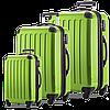 Набор пластиковых практичных дорожных чемоданов 4-колесных HAUPTSTADTKOFFER alex set apple салатовый