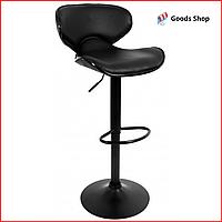 Барный стул высокий для барной стойки Кожаное барное кресло стильное со спинкой Bonro B-068 черный