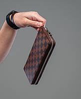 Мужское портмоне Louis Vuitton, кошелек на молнии из экокожи, бумажник, клатч, большой брендовый вместительный