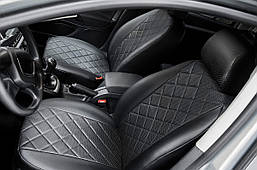 Чохли на сидіння Ford Kuga 2013 - Trend екошкіра, Ромб /чорні 88937 Seintex