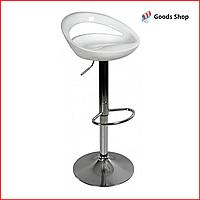 Барный стул высокий для барной стойки Пластиковое барное кресло стильное со спинкой для кухни Bonro B085 белый