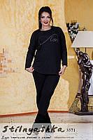 Туника женская Love большого размера черная, фото 1