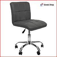 Барный стул высокий для барной стойки Кожаное барное кресло на колесиках со спинкой для кухни Bonro 532 серый