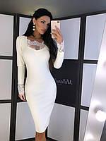 Плаття футляр міді Уїтні красиве жіноче з ефектом утяжки і ніжним мереживом Smf6548