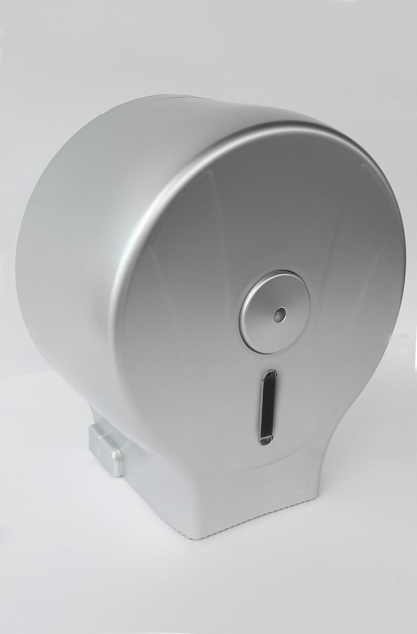 Диспенсер для туалетного паперу АБС пластик, 9309 сірий металік