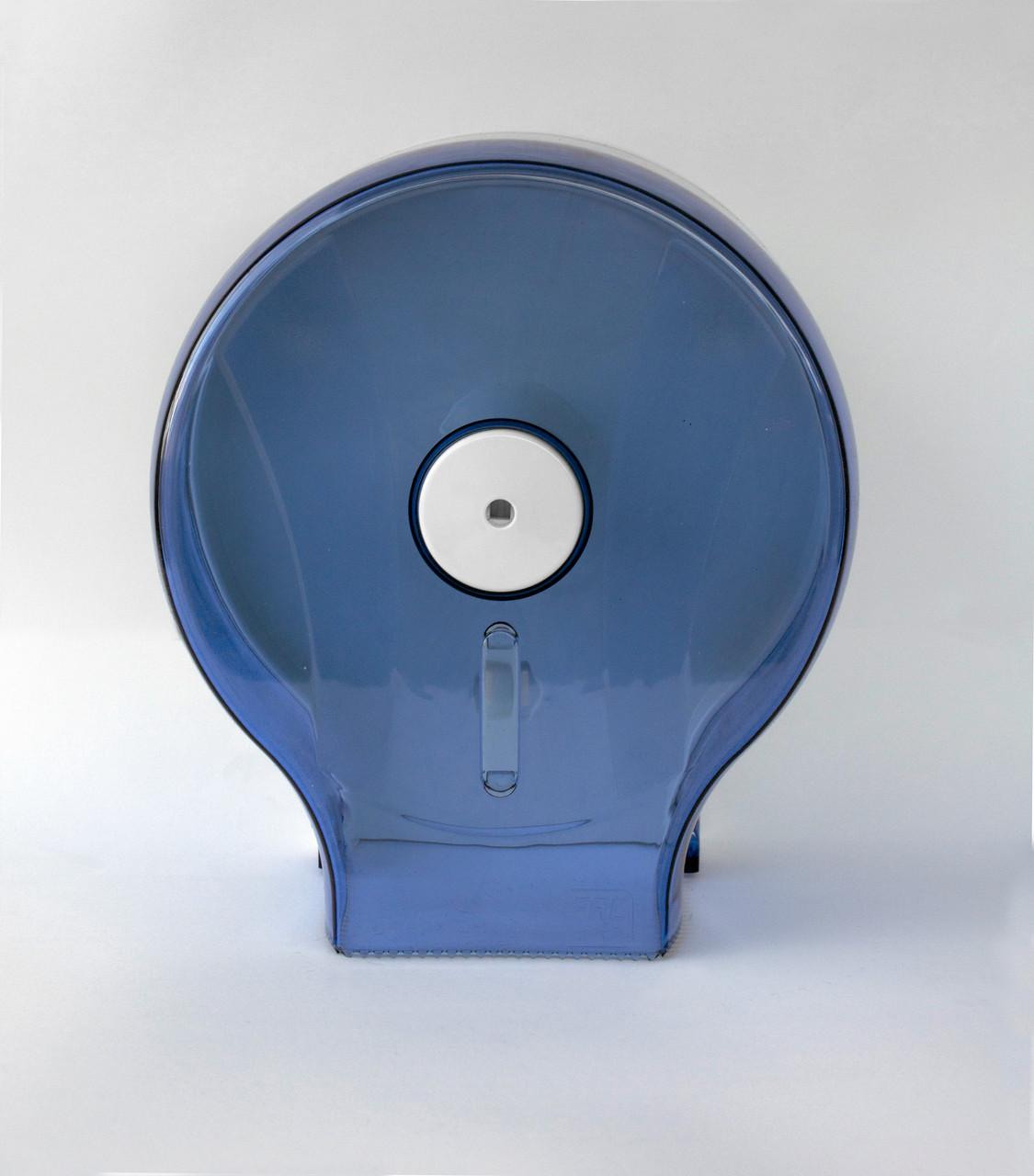 Диспенсер для туалетной бумаги АБС пластик, 9307 голубой/прозрачный