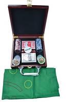 Набор для игры в покер в деревянном кейсе (100 фишек, две колоды карт)