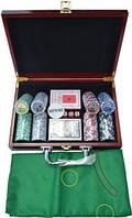 Набор для игры в покер в деревянном кейсе (200 фишек, две колоды карт)