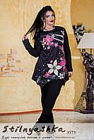 Туника женская в крупный цветок большого размера черная, фото 1