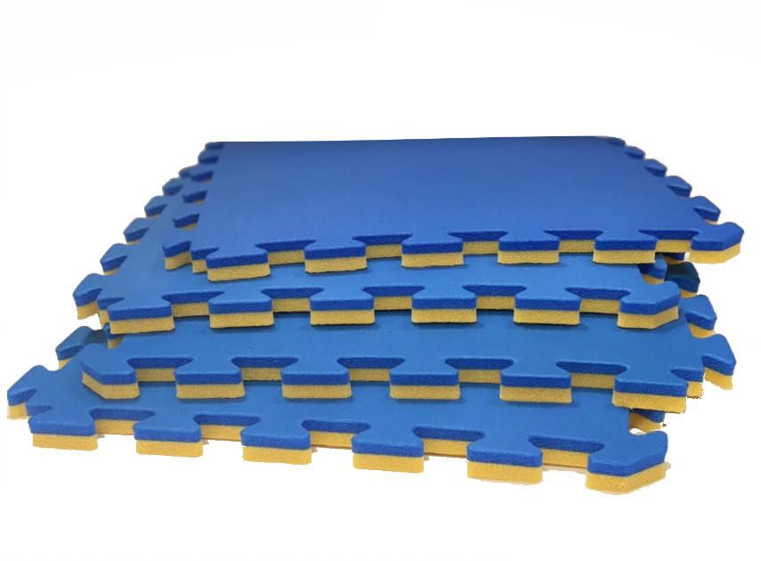 Мягкий пол пазл 50*50*2 см Жёлто-Синий