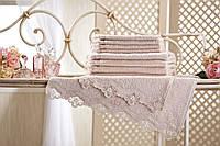 Крестильное полотенце с кружевом Acelya Rose 100x150