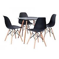 Стол со стульями для кухни /гостиной BARDO 957 Черный