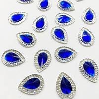 Акриловые камни Форма Капля  Sapphire 10*14 mm.1шт