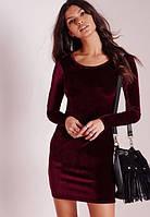 """Короткое облегающее велюровое платье """"Моника"""" с длинным рукавом"""